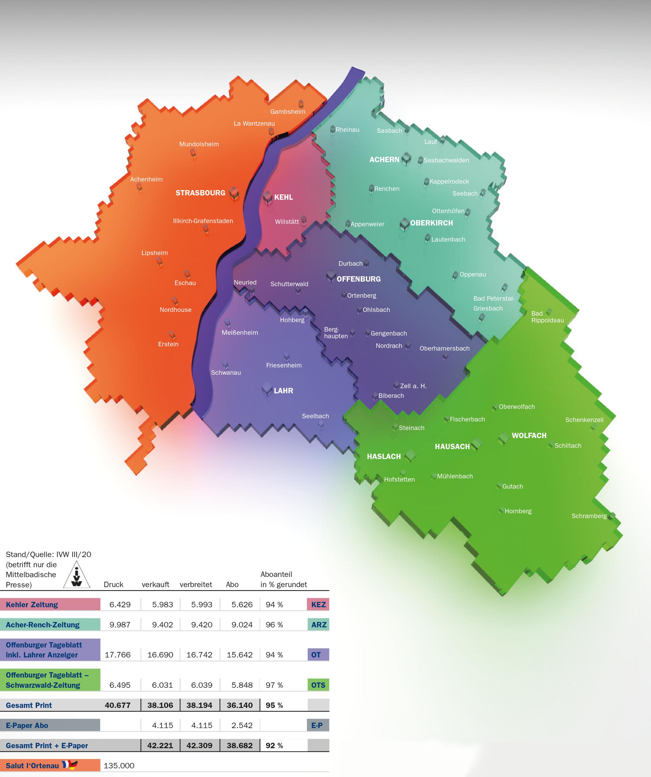 Verbreitungsgebiet Mittelbadische Presse